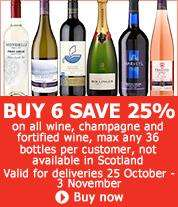 Buy 6 Bottles and save 25% on all wine @ Sainsburys