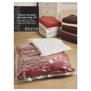 Asda - pack of 5 vacuum storage bags(2 large + 3 medium) - now £3