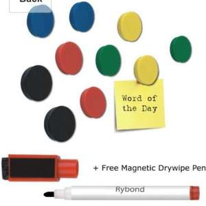 10 rybond round fridge/ whiteboard magnets free magnetic pen £1.99 inc delivery @ amazon and sold by N D Office Ltd.