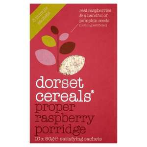 Dorset Cereals Proper Raspberry Porridge (10 x 50g Packs) Pack of 5, Total 50 Sachets! Amazon - £1.00 (RRP:£12.95!) Min £10 order for free delivery