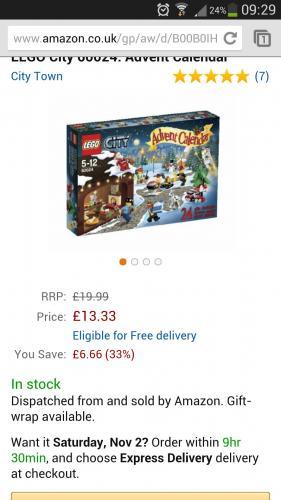 Lego city 2013 advent calender £13.33 @ amazon