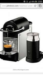 Nespresso Pixie Automatic Coffee Maker and Aeroccino by Magimix online £129.99 at John Lewis (Claim free £70 Nespresso voucher until 31/01/2014)
