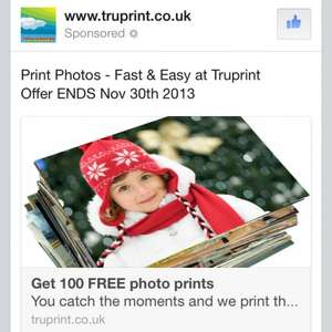 Free 100 photo prints for new customers @ TruPrint + P&P