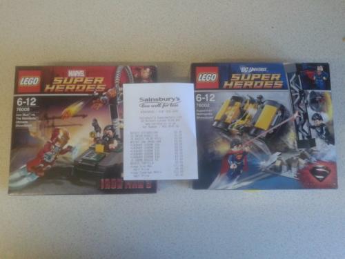Lego superman and ironman 3 half price £5.99 at sainsburys