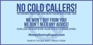 Free 'no cold callers' sign moneysavingexpert.com