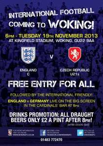 England C v Czech Republic Under 21s - Free Admission