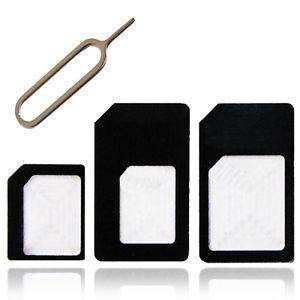 4 in 1 PACK NANO TO MICRO & STANDARD SIM CARD ADAPTER 99p Delivered (sold by chancerychaircovers) @ eBay