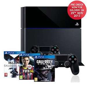 DAY ONE STOCK - Sony Playstation 4 Killzone Bundle with 2 DualShock 4 Wireless Controllers + Fifa 14 + Call of Duty: Ghosts £499.99 @ Costco