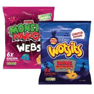 Wotsits Zombie Fingers Flamin Hot and Monster Munch Bacon Webs - Pack of 6 - 3p at Sainsburys