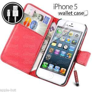 LEATHER FLIP CASE WALLET + LIGHTNING CABLE + SCREEN PROTECTOR + STYLUS FOR IPHONE 5/5S *ONLY 99p* on eBay/Apple-Hut