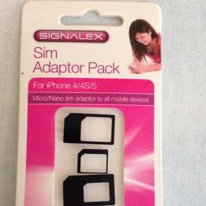 Poundland nano-micro-mini SIM adapters and iPhone SIM tray tool set £1