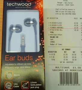 Techwood (in-ear) Earphones | Morrisons | £3
