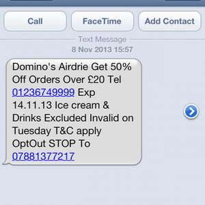 Domino Pizza 50% of any order over £20 - Airdrie