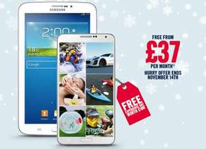 "Galaxy Note 3 & FREE Galaxy Tab 3 7"" Tablet OR Galaxy Gear Smartwatchworth £240 for £37 per month (no upfront cost) on 3 Network. 500 mins/5000 texts/unlimited data @ Carphone Warehouse"