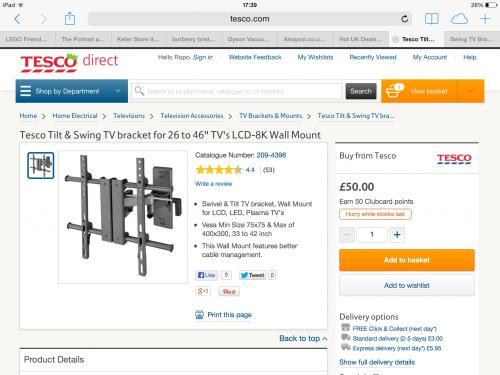 """Tesco tilt and swing tv wall bracket 26"""" - 46"""" £12.50 instore @ Tesco"""