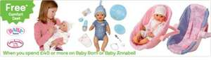 Spend £45.00 on Baby Annabel and get a free cosy seat at £19.99 @ Toys R Us