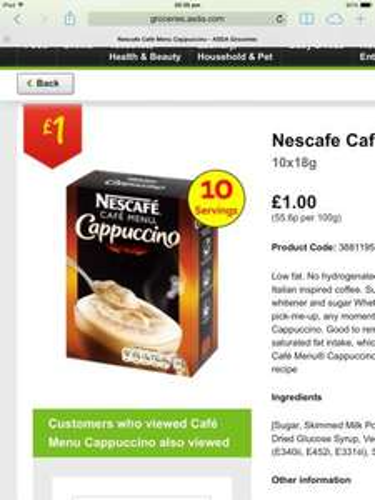 ASDA Nescafé Cappuccino / Latte Boxes of Sachets of Coffee £1.00