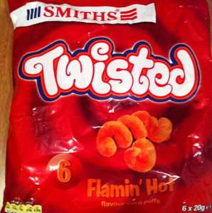 Smiths twisted flamin hot 6 pack crisps 50p @ Asda