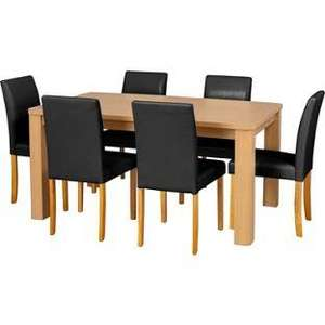 Swanley Oak Dining Table & 6 Black Leather Effect Chairs Normally £499.99 NOW £208.95 DELIVERED @HOMEBASE
