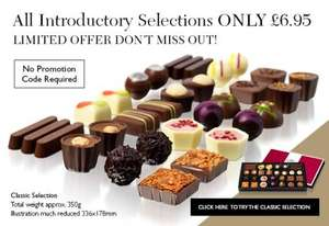 Introductory selection of fine chocolates £6.95 incl delivery and FREE Munch & Nibble gift instead of £20.95 from the Chocolate Tasting Club
