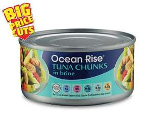 Ocean rise tuna chunks in brine 185g, 61p each or 4 for £2.40 at aldi