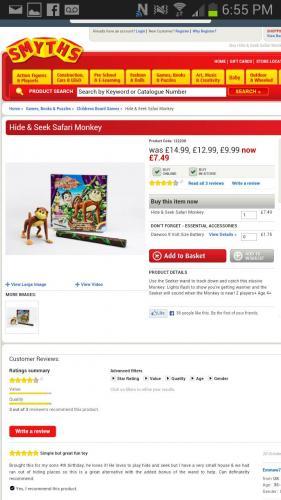Hide & Seek Safari Monkey £7.50 @ Smyths Toys
