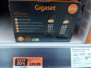 GIgaset A125 Twin Cordless Phone Was £24.99 now £19.99 exclusive to Sainsburys Instore only