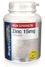 Zinc 15mg tablets from Simply Supplements, 120 for £3.89  or 360 for £6.79, free postage and 12.62% from Topcash