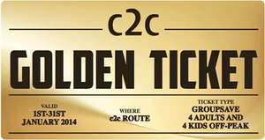 C2C Rail Golden Ticket- free ticket for 4 adults and 4 kids to use in Jan 2014 but have to get to London on 28th Nov to get ticket