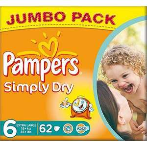 Pampers simply dry size 6 Jumbo pack, £9 for 62 nappies @ ASDA Direct