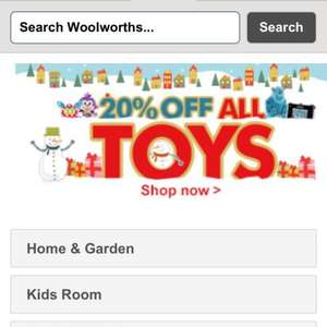 Woolworths 20% off all toys