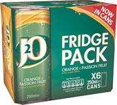 J2O 6 x 250ml cans fridge pack 2 for £5 @ Farmfoods