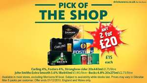Strongbow/Carling/Fosters/Becks/John Smith boxes of 20 - Any 2 for £20 @ Morrisons