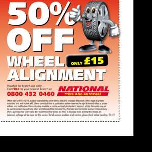 50% discount on wheel alignment only £15 @ National Tyres and Autocare
