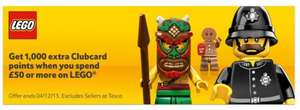 1000 Clubcard points when you spend £50 on Lego at Tesco Direct