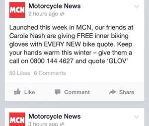 Free pair of 'inner glove' with every motorbike I nsurance quote at Carole Nash