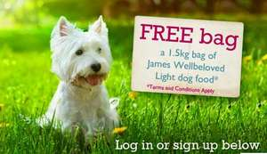 Free 1.5kg bag of James WellBeloved light Cat or Dog Food also a £3 voucher
