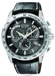 Citizen Men's Eco-Drive Chronograph Watch AT4000-02E with a Black Dial and a Black Leather Strap £224 (£179.20 with clothing voucher code) @ Amazon