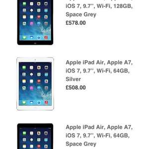 iPad Air Wi-Fi 64GB £508 / 128GB £578 @ John Lewis