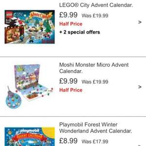 Lego playmobil and moshi monster advent calendars half price @ Argos from £8.99