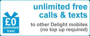 Unlimited Free Calls & Texts to other Delight mobiles (no top required) @ Delight Mobile