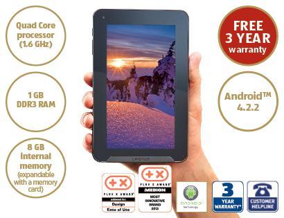 """ALDI 7"""" Tablet PC MEDION® LIFETAB® 3yr warranty - £79.99"""