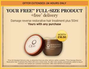 Another Great FULL SIZE freebie from Ojon - Damage Reverse Restorative Hair Treatment with any purchase - ONE DAY ONLY - + FREE DELIVERY !