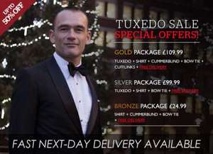 MyTuxedo - 30% off all stock. Today only. Suit, shirt & tie £69.99