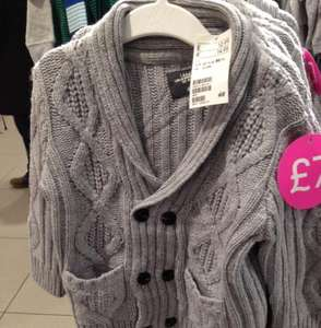 Boys Double breasted cable knit cardigan half price instore H&M - £7