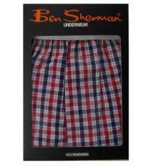 Ben Sherman Mens Button Fly Woven Checked Boxer Short Red - £4.99 Delivered @ thefashionhut
