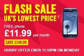 Samsung Galaxy S3 flash sale @ carphone warehouse 11.99/m total £287 possible £35 quidco