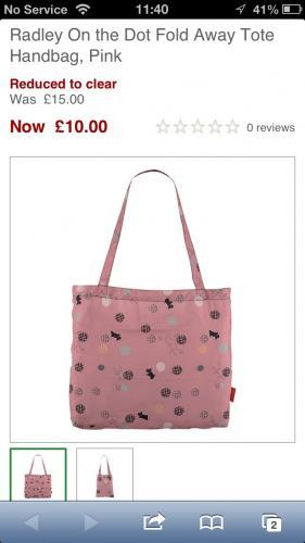 Radley tote bag £10.00 @ John Lewis instore