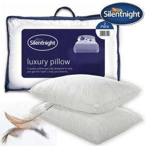 Silentnight Luxury Goose Feather Pillows (pair) - Premium 100% Pure Cotton Cover @ uk-bedding (eBay) & FREE DELIVERY