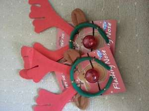 Reindeer antlers and red flashing nose 2for £1.50 @ B&M